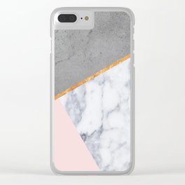Marble Blush Gold gray Geometric Clear iPhone Case