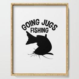 Going Jugs Fishing T Shirt Fisherman Gift Idea Men Serving Tray