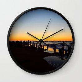 Wharf Beach Sunset Wall Clock