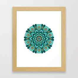 Copper and Teal Mandala Framed Art Print