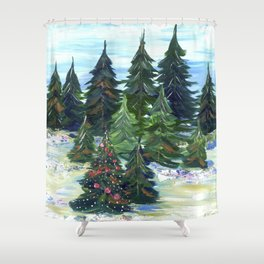 Field of Christmas Trees Shower Curtain