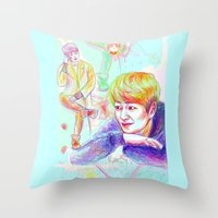 shinee Throw Pillows featuring SHINee Onew by sophillustration