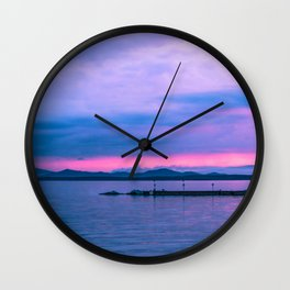 Sunset on the lake Wall Clock