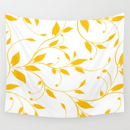 FLOWERY VINES | white yellow Wall Tapestry