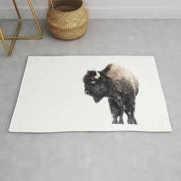 Bison Standing in a Snowstorm Rug