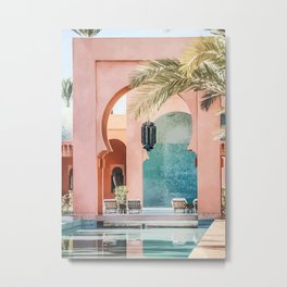 Oil Painting Traditional Moroccan Riad Building Architecture Metal Print