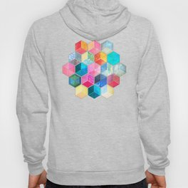 Crystal Bohemian Honeycomb Cubes - colorful hexagon pattern Hoody