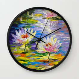 Water lilies in the pond Wall Clock