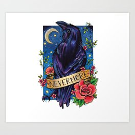 Nevermore Raven Art Print