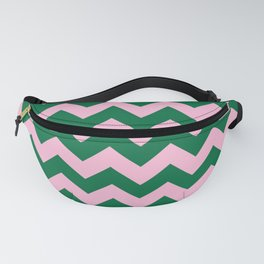 Cotton Candy Pink and Cadmium Green Horizontal Zigzags Fanny Pack