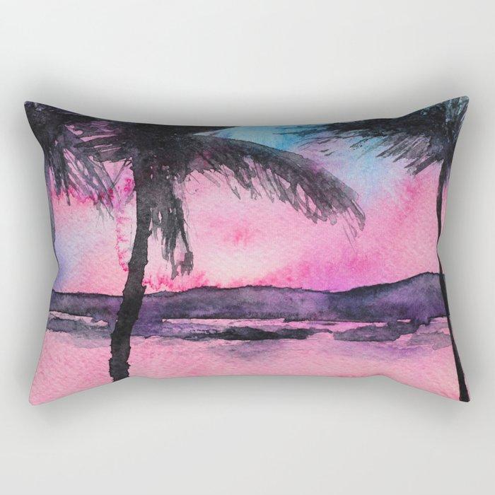 Tropical sunset || watercolor Rectangular Pillow