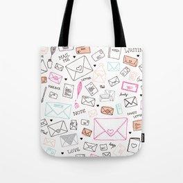 Love letter illustration pattern design Tote Bag
