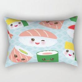 pattern Kawaii funny sushi rolls set with pink cheeks and big eyes, emoji Rectangular Pillow