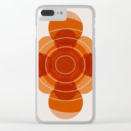 Earthy Red Scandinavian Floral Design Clear iPhone Case