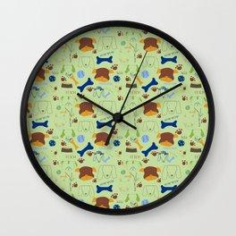 Good Doggie Hand-Drawn Cartoon Grass Green Dog Print Wall Clock