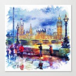 London Rain watercolor Canvas Print