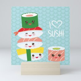I love sushi. Kawaii funny sushi set with pink cheeks and big eyes, emoji. Blue japanese pattern Mini Art Print