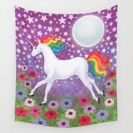 wanderlust (rainbow unicorn), moon and stars, anemone Wall Tapestry