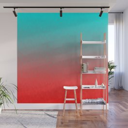 Cyan to red ombre flames Miami Sunset Wall Mural