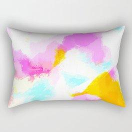 Bailee - Bright neon pink, blue, yellow abstract art Rectangular Pillow