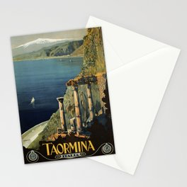 Vintage Taormina Sicily Italian travel ad Stationery Cards