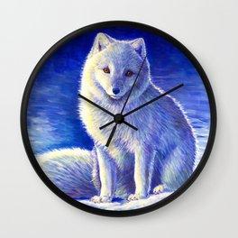 Peaceful Winter Arctic Fox Wall Clock