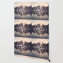 Rose Gold Compass Forest Wallpaper