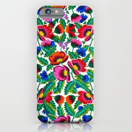 Grandmommy Flowering Bouquet - Poppy Centaurea Violet - Green Leaves Blossom Satin Stitch Embroidery iPhone Case