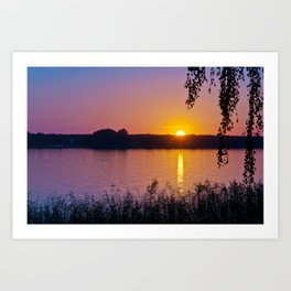 Beautiful sunset over the lake Art Print