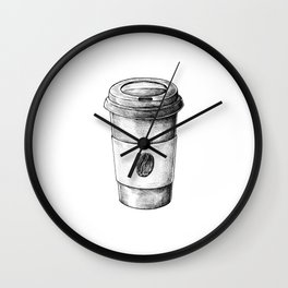 Coffee To Go Hand Drawn Wall Clock