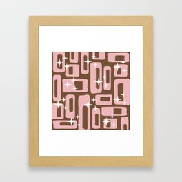 Retro Mid Century Modern Abstract Pattern 779 Pink and Brown Framed Art Print
