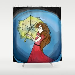 Girl in Red Shower Curtain