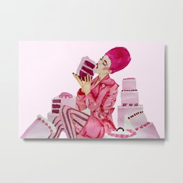 Cake birthday girl fashion illustration Metal Print