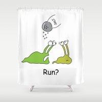 run Shower Curtains featuring Run? by Bill King