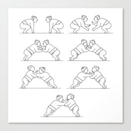 Rikishi Sumo Wrestlers Wrestling Mono Line Collection Set Canvas Print