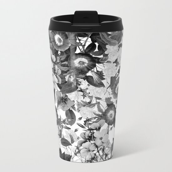 Night Garden Black and White Metal Travel Mug