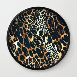 Leopard skin, animal print pattern Wall Clock