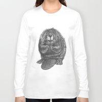 beaver Long Sleeve T-shirts featuring Beaver by Nasir Nadzir