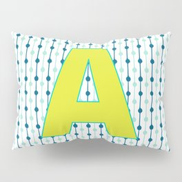 Letter A Monogram Blue, Green and Yellow with Pattern Pillow Sham