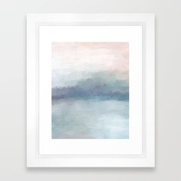 Blush Pink Mint Sky Baby Blue Abstract Ocean Sky Sunrise Wall Art Water Clouds Painting Print Framed Art Print