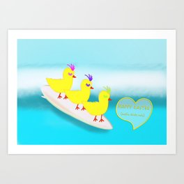 Surfie Chicks at Easter Art Print