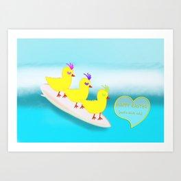 Surfie Chicks at Easter Art Print