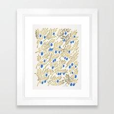 Olive Branches – Gold & Blue Framed Art Print