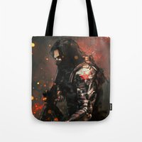 blood Tote Bags featuring Blood in the Breeze by Alice X. Zhang