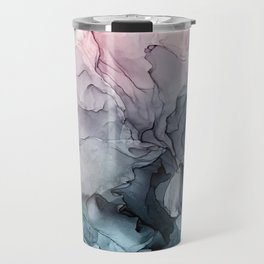 Blush and Paynes Gray Flowing Abstract Reflect Travel Mug