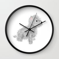 westie Wall Clocks featuring westie by oslacrimale