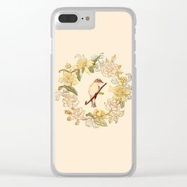 Antique Bird and Wreath Clear iPhone Case