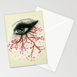 Sketch of an Eye with sakura Stationery Cards