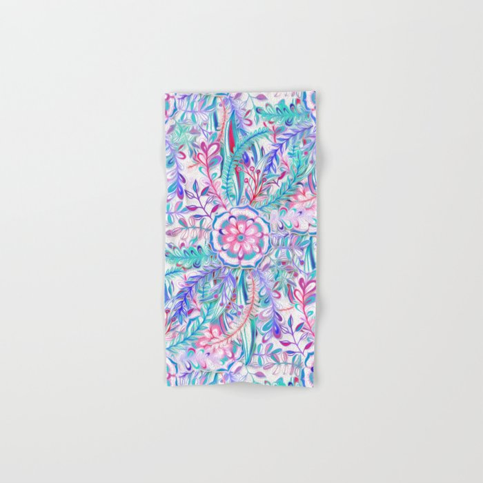 Boho Flower Burst in Pink and Teal Hand & Bath Towel