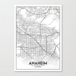 Minimal City Maps - Map of Anaheim, California, United States Canvas Print